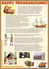 thanksgiving and indians happy thanksgiving 2 page reading activity worksheet free esl