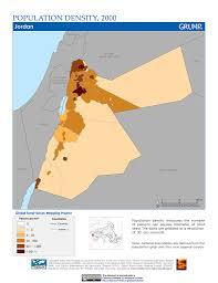 Jordan Country Map Maps Population Density Grid V1 Sedac
