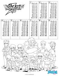 multiplication table inazuma eleven coloring pages hellokids com