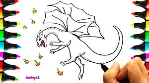 dragon drawing and dragon coloring pages for children with colored