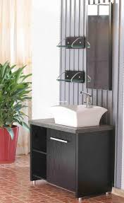 Bathroom Sophisticated Contemporary White Vessel Sink On Black - Black bathroom vanity with vessel sink