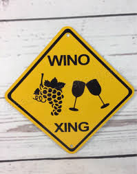 Wino To Decorate Our Home Wino Xing Mini Metal Yellow Caution Wine Crossing Sign