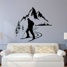 popular removable wall murals winter buy cheap removable wall skier winter sports mountain quote wall art sticker decals home diy decoration wall mural removable bedroom