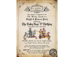 medieval times or renaissance birthday party invitation ticket on