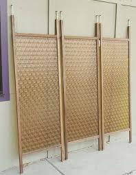 vintage amber coloured tension pole divider panels mid century