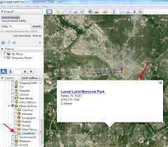 Google Map Dallas by How To Find Cemeteries In Google Earth