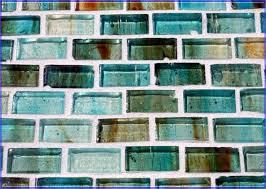 Green Tile Backsplash by Grey Glass Subway Tile