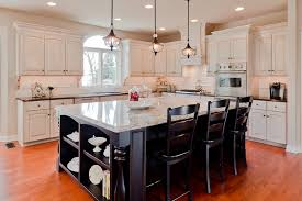 fabulous black stained wooden kitchen island with four side