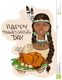 thanksgiving and indians thanksgiving card with native american indian stock image