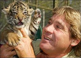 Steve with a baby tiger