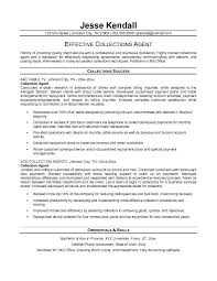 Collection Agent Resume Sample   objectives for customer service resume happytom co