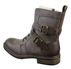 leather biker boots mens punk rock goth elmo biker ankle boots leather buckle fur
