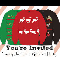 tacky christmas sweater party invitations u2013 free printable u2013 this