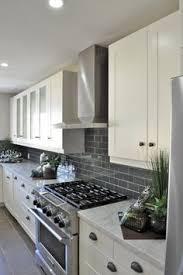 Smoke Glass Subway Tile White Shaker Cabinets Shaker Cabinets - White kitchen backsplash ideas