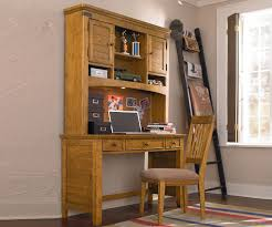 rustic lacquered pine wood study desk with height bookshelves of