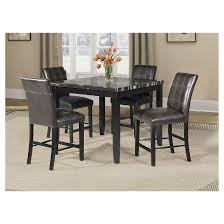 Blythe Counter Height Dining Table Faux Marble And Black Acme - Counter height kitchen table