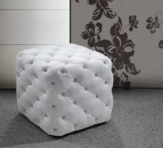 modern white leatherette w crystals ottoman