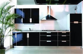 glamorous black modern kitchen cabinets with marble backsplash
