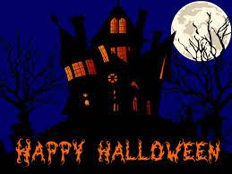 happy halloween haunted house and full moon