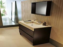 modern bathroom vanity with brown single sink and square wall
