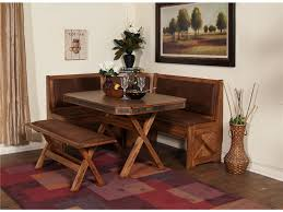 small rustic breakfast nook table with cross x legs bench seat and