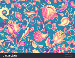 seamless pattern fantasy whimsical flowers tulips stock