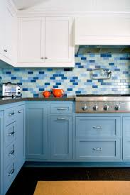 blue kitchen backsplash dark cabinets amazing s with decor