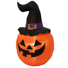 home accents holiday 5 ft inflatable outdoor pumpkin with witch