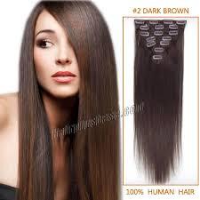 Grey Human Hair Extensions by Inch 2 Dark Brown Clip In Human Hair Extensions 7pcs