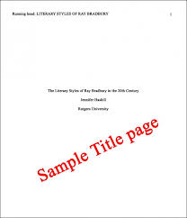 Apa  th edition research paper title page  Excellent Homework