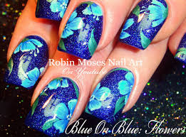 Robin Moses Nail Art by Robin Moses Nail Art Blue Polish With Blue Flowers
