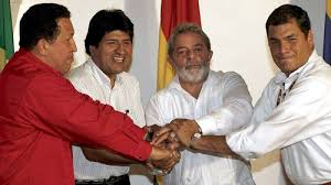 Lula con Chavez, Evo Morales y Correa