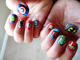 comic nail art dc vs marvel marvel nails thumb to pinkie