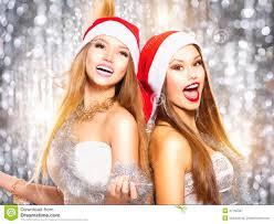 christmas party beauty girls singing stock photo image 47165587
