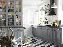 alluring grey accent with big glass cupboard on black white tile
