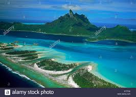 aerial view from water bungalows of a luxury hotel bora bora