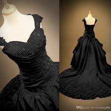 discount real photo black gothic wedding dresses lace appliques