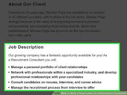Cover Page For Job Resume by How To Write A Cover Letter For A Recruitment Consultant With