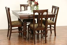 Antique Dining Room Tables by Sold Oak 1900 Antique Square Dining Table 4 Leaves 5 Spiral
