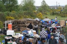 Pallets piled high at Nickelsville encampment