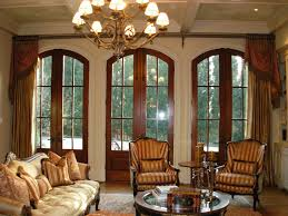 interior living room brown wooden door and window treatment with
