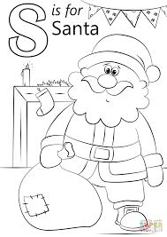 letter s is for santa coloring page free printable coloring pages