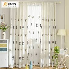 ready made window blinds dihin 1 pc embroidered cartoon linen cotton cloth tree curtains