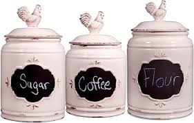 Clear Canisters Kitchen Amazon Com Set Of 3 Ivory Ceramic Round Chalkboard Rooster
