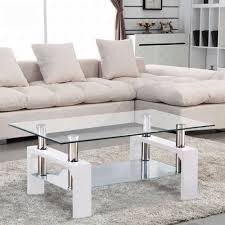 White Furniture For Living Room Amazon Com Virrea Rectangular Glass Coffee Table Shelf Chrome