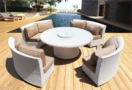 White Wicker Outdoor Patio Furniture by Cassandra Ethereal White Round Dining Set