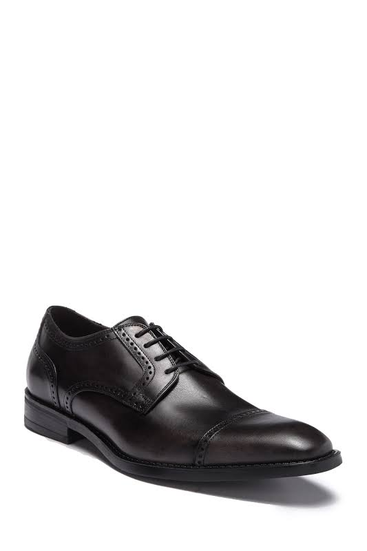 Bruno Magli Lansdale BM600252 Black Leather Dress Lace Up Oxfords Shoes