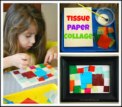 tissue paper square collage mess for less