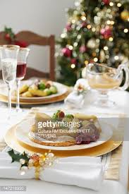 Dinner Table Plate Of Food On Christmas Dinner Table Stock Photo Getty Images