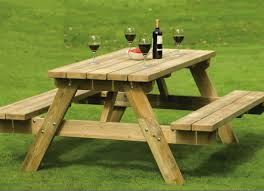 wood picnic table for backyard home furniture and decor